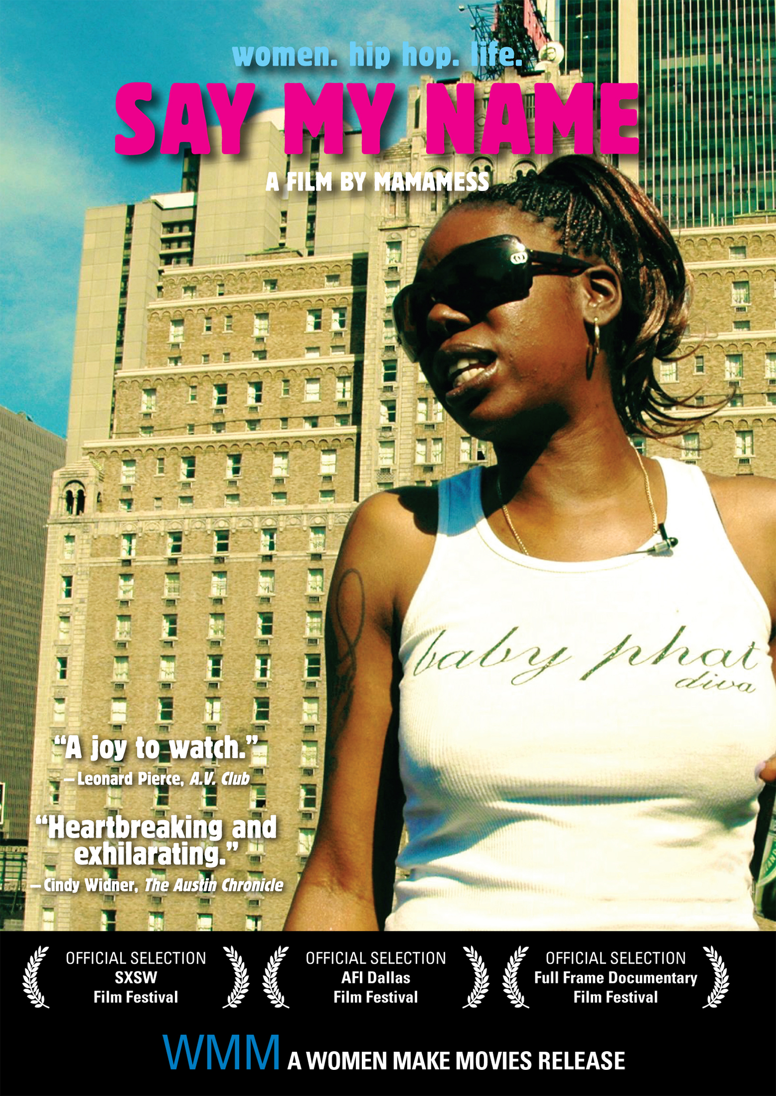 Film poster featuring a Black woman in sunglasses and a white tank top standing in an urban setting