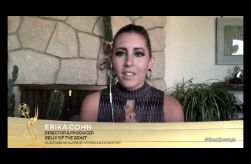 Erika Cohn accepts News & Doc Emmy Award for Outstanding Current Affairs Documentary